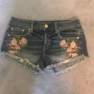 American Eagle Floral Embroidered Jean Shorts